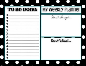 Weekly Planner To Do List - Polka Dots