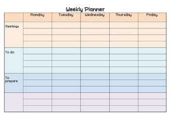 Weekly Planner, To do list and Teacher notes