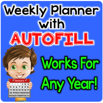 Digital Weekly Planner - The Teacher Plan Book with Autofill