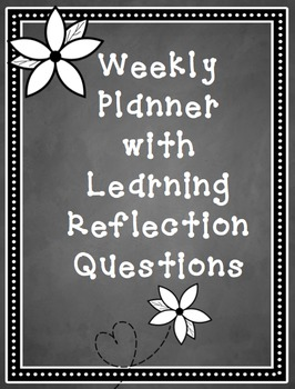Weekly Planner and Learning Reflection Printable, PDF and Editable