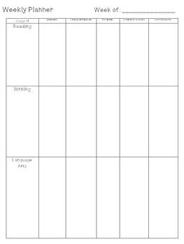 Weekly Planner for ELA