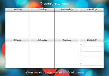 Weekly Planner for Entire Year (52 Weeks) - Back to School. NO PREP.