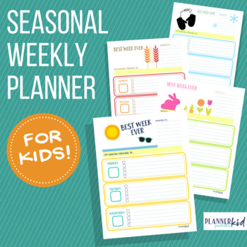 Weekly Planner for Kids: Calendar Bundle with Seasonal Themes