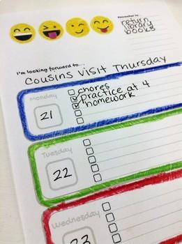 Emoji Themed Weekly Planner