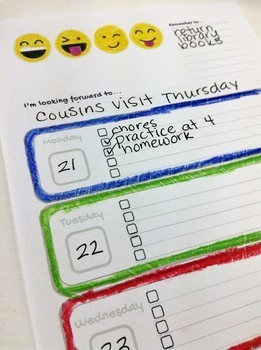 Emoji Themed Weekly Planner, Weekly Planner for Students, Kindergarten Planner