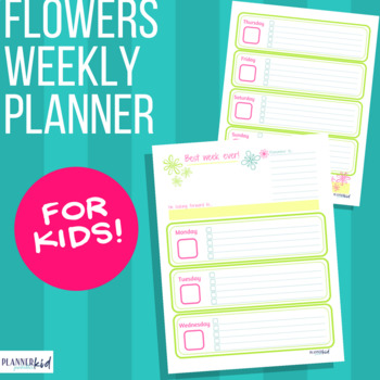 Weekly Planner for Kids: Printable Calendar with Flower Theme