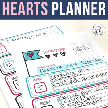 Weekly Planner with Hearts