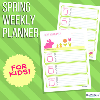 Weekly Planner for Kids: Printable Calendar with Spring Theme
