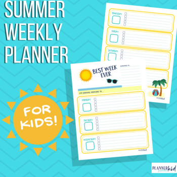 Weekly Planner for Kids: Printable Calendar with Summer Theme