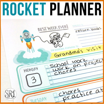 Weekly Planner for Kids: Rocket Ship Theme, Printable weekly calendar
