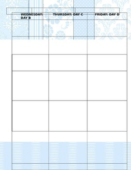 Weekly Planner for teachers (days of the week at the top)