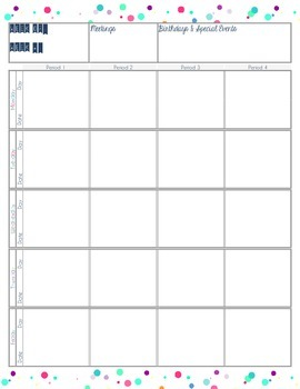 Weekly Planner with Horizontal Daily Time Slots (unlined version)