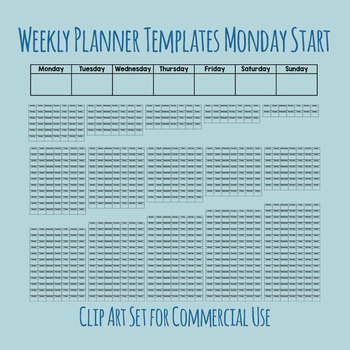 Weekly Planners Monday Start - Unit Planning Etc - 1 to 16 Weeks Clip Art