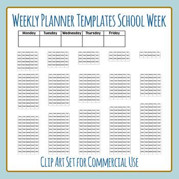 Weekly Planners School Week (No Weekends) - 1 to 16 Weeks Clip Art Commercial