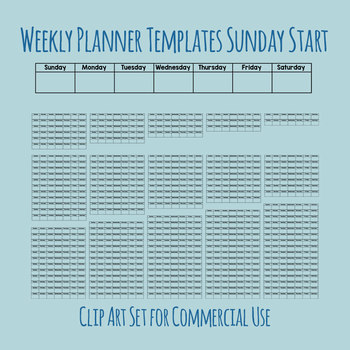 Weekly Planners Sunday Start - Unit Planning Etc - 1 to 16 Weeks Clip Art