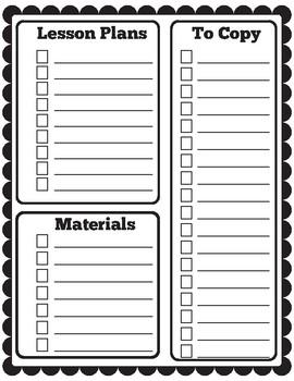 weekly planning checklist by aubry myers teachers pay teachers