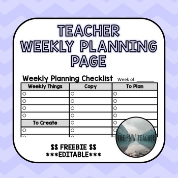 Weekly Planning Checklist *Editable!