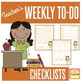 Weekly Planning Checklist - Editable!