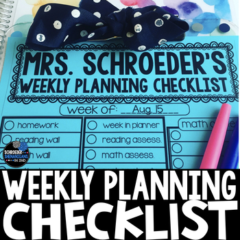 Weekly Planning Checklist  Editable By Schroeder Shenanigans In Nd