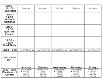 Weekly Planning Document
