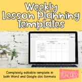 Editable Weekly Lesson Planning Template