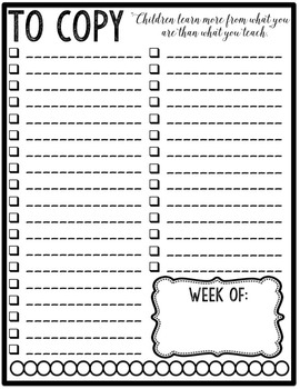 The Organized Teacher- Weekly Planning Lists