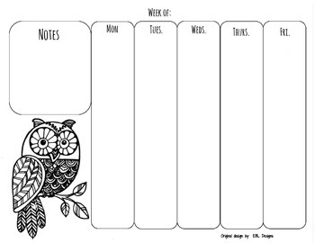 Weekly Planning - Owl Printable