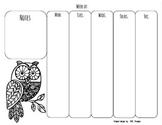 Weekly Planning - Owl Printable