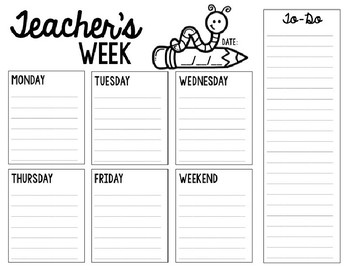 Weekly Planning Page - Editable!