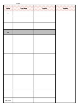 Weekly Planning Schedule
