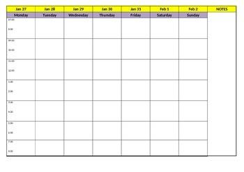 Weekly Planning Sheet (Editable)