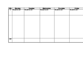 Weekly Planning Sheet