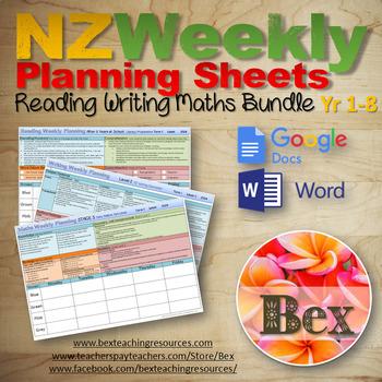 Weekly Planning Sheet Bundle - (Maths, Reading, Writing) New Zealand ...