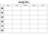 Weekly Planning Template (6 sessions per day)