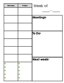 Weekly Planning Template (Basic Lesson Planning)