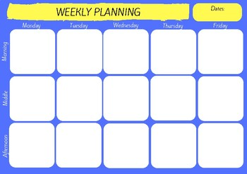 Weekly Planning Template - Blue & Yellow