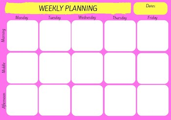 Weekly Planning Template - Bright Pink & Yellow
