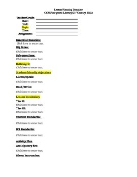 Weekly Planning Template Common Core Integrated Language