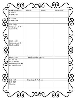 Weekly Planning Template-Two page format