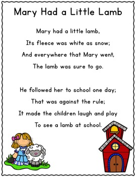 It's Nursery Rhyme Time: Mary Had a Little Lamb