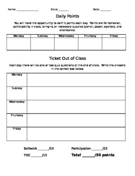 Weekly Points printable