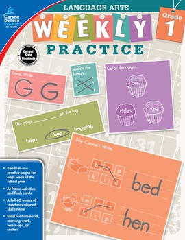 Weekly Practice Language Arts Grade 1 SALE 20% OFF 104875