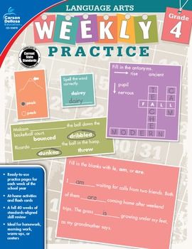 Weekly Practice Language Arts Grade 4 SALE 20% OFF 104878