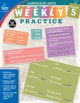 Weekly Practice Language Arts Grade 5 SALE 20% OFF 104879