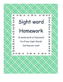 Weekly Pre-primer sight word homework