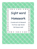 Weekly Pre-primer sight word homework