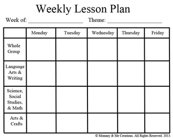 Weekly preschool lesson plan template by mommy and me for Lesson plan template for kindergarten teacher