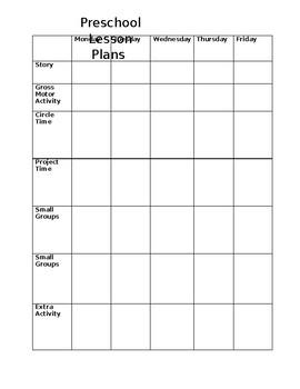 Weekly Preschool Lesson Plan Worksheet