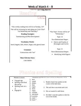Weekly Preview (Fridge Sheet)