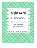 Weekly Primer Sight Word Homework